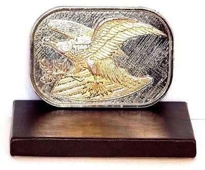 Vintage 1970 Silver & Gold American Eagle & Shield Belt Buckle (New Old Stock)