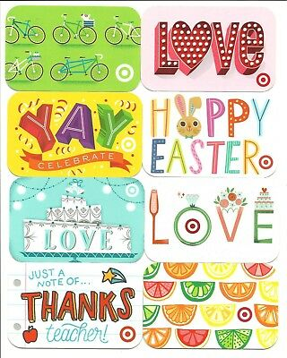 Lot of (8) Target Gift Cards No $ Value Collectible Bikes Love Easter Yay Thanks