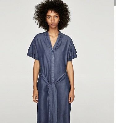 Bnwt Zara Dress With Frilled Sleeves.size Small. Sold Out
