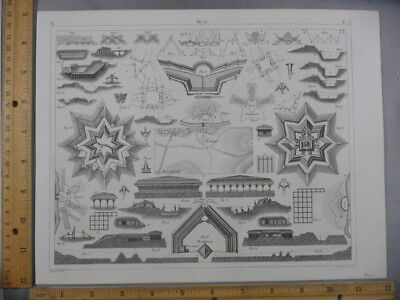 Rare Antique Orig VTG 1850's Architecture Staging Diagrams Engraving Art Print