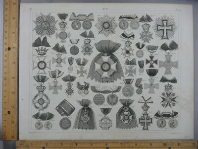 Rare Antique Original Vintage 1850's Various Medals Of Honor Engraving Art Print
