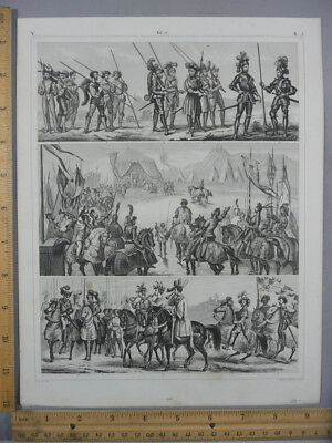Rare Antique Original Vintage Battle Military 3 Image Scene Engraving Art Print