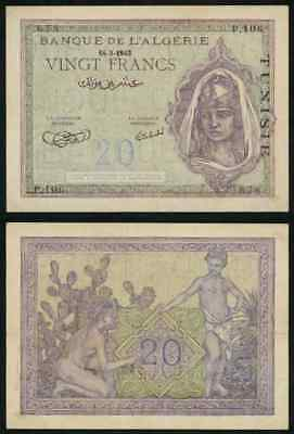 Currency 1943 Tunisia 20 Francs Banknote P# 17 Beautiful Maiden Head Dress VF+