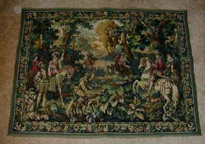 Flemish Wool Wall Tapestry Hawking with Emperor Maximilian Belgium Hunting Scene