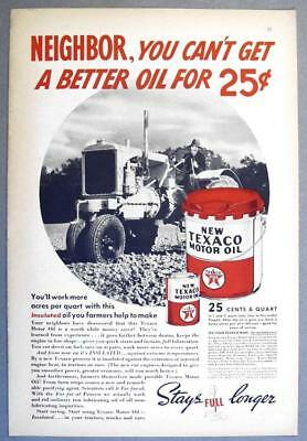 8x12 Original 1938 Texaco Ad NEIGHBOR YOU CANT GET BETTER OIL FOR 25 CENTS