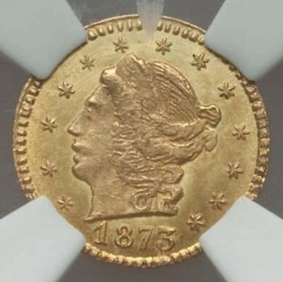 1873 RD Liberty G25C California Fractional Gold / BG-817 NGC MS64