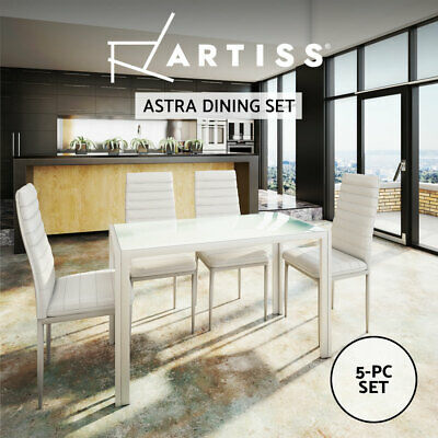 Artiss Astra 5-Piece Dining Table and 4 Chair Sets Glass Leather Seater White