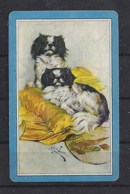One Single 1950s Art Playing Card JAPANESE CHIN - Blank on reverse side