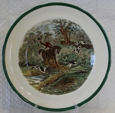 Spode Herring Hunting 23cm Green Rim Lunch Plate #10 - Drawing The Dingle