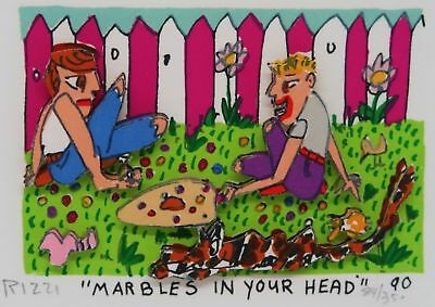 James Rizzi » Marbles In Your Head «  Seltenes 3D  aus 1990