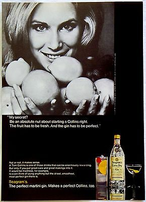 Vintage 1969 Seagram's Extra Dry Gin Perfect Tom Collins Magazine Ad Tear Out