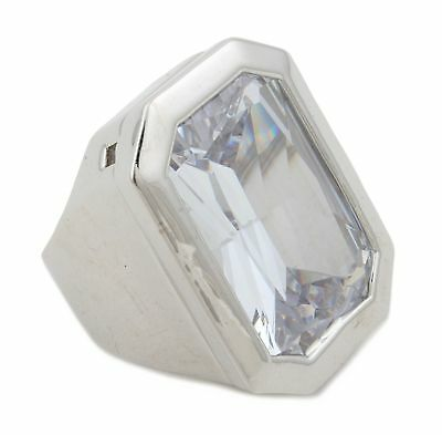 Zest Rectangular Ring with Large Crystal Silver