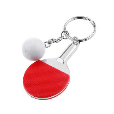 2Pc Couples Key Chain Table Tennis Ping-pong Racket & Ball Shape Red & Blue