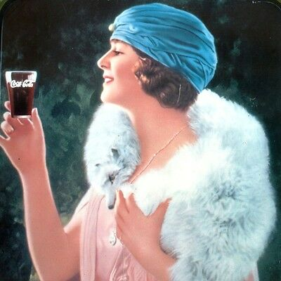COCA COLA = Altes Reklame Tablett USA Italien 1977 TOP Jugendstil Lady LIMONADE
