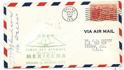 Cpa Pk Ak Aviation  Fdc Mexican Airlines First Jet Airmail Dallas Mexico Comet C