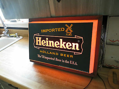Imported Heineken Holland Beer advertising old lighted working imported bar sign