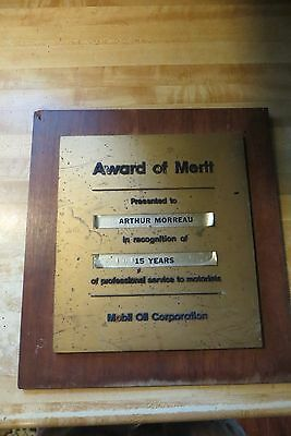 Mobil Oil Co 15 yr in prof.gas station repair shop advertising sign plaque vtg
