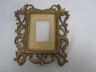 Antique Ornate Painted Gold Acanthus Leaf Swirl Heavy Metal Picture Frame