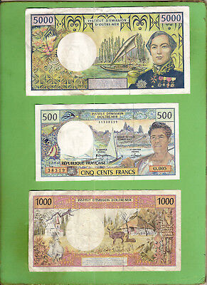 #d364. New Caledonia  Circulated  Banknotes - 5000, 1000 & 500 Francs