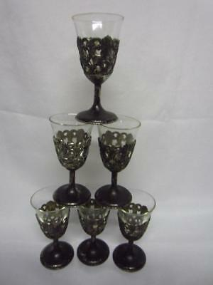 Set of 6 Vintage Raimond Japan Shot Glasses in Silver-Plated? Stemmed Holders