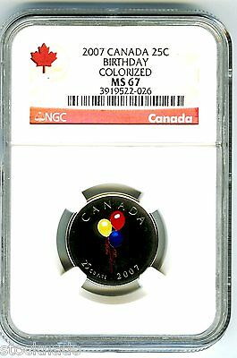 2007 Canada 25 Cent Ngc Ms67 Birthday Quarter Rare Less Than 10,000 Minted