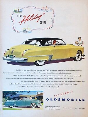 Original 1949 Print Ad OLDSMOBILE Holiday Coupe Futuramic Car Auto Vintage