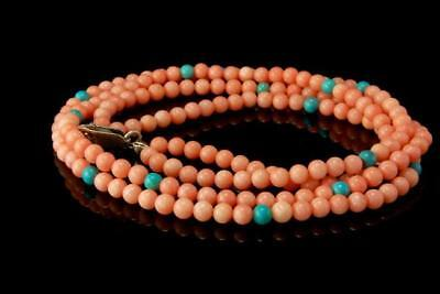 Vintage Chinese Pink Coral Turquoise Beads Sterling Necklace A805
