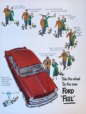 Original 1949 Print Ad FORD Feel Take the Wheel Try the New Vintage Art