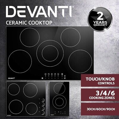 Devanti Electric Ceramic Cooktop 60cm /30cm Kitchen Burner Knob Touch Control