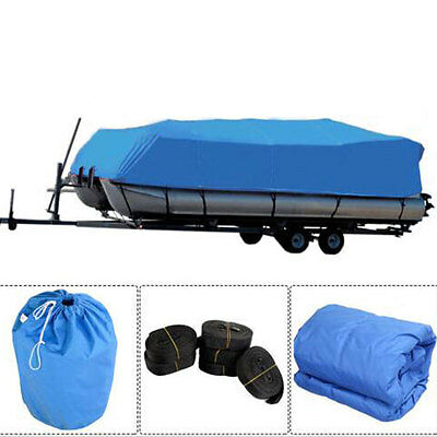 New 17-20 Ft Heavy Duty Fabric 600D Waterproof Trailerable Pontoon Boat Cover