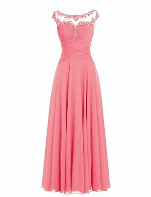 US Women Long Cap Sleeves Scoop Neck Pleated Chiffon Bridesmaid Party Dress