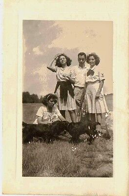 Old Antique Vintage Photograph Three Woman One Man and Two Dogs
