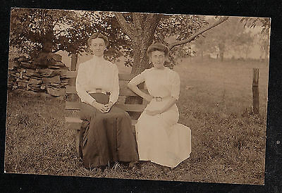 Old Antique Vintage RPPC Photograph Two Women Sitting on Bench in Park