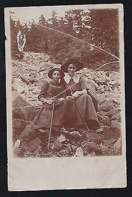 Old Antique Vintage RPPC Photograph Postcard Two Young Girls on Rocks With Canes
