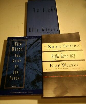 Elie Wiesel, lot of 3, Paperback, Night Trilogy Twilight Gates of the forest