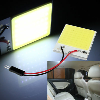 48 SMD T10 4W COB Panel Light LED Car Interior 12V Lamp Bulb Dome White Light
