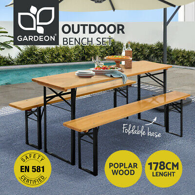 Artiss Outdoor Beer Table Bench Set Foldable Garden Wooden Furniture Picnic Cafe