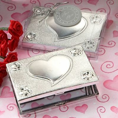 6 X Elegant Reflections Heart Design Mirror Compact Wedding Party Favours Gifts