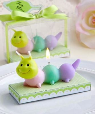 Set of 6 Adorable Baby Caterpillar Candles Baby Shower Christening Favours Gifts