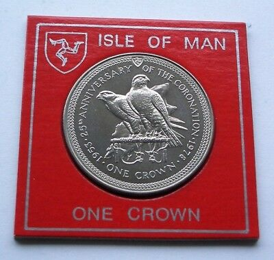 1978 25th ANNIVERSARY OF THE CORONATION ISLE OF MAN CROWN IN COIN CASE. IoM MANX