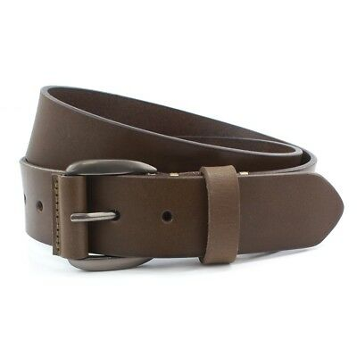 Mens Belt 40mm Leather Jeans (Brown) Large