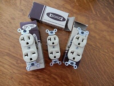 3 Vintage Bakelite Leviton Ivory Colored Receptacles Outlets New Old Stock
