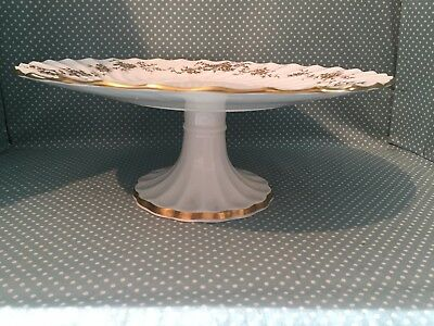 Large Crown Staffordshire China Aristocrat pattern footed cake stand or plate.