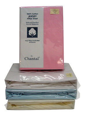 King Size Soft Cotton Jersey Fitted Sheet in Blue Cream Pink White Elasticated