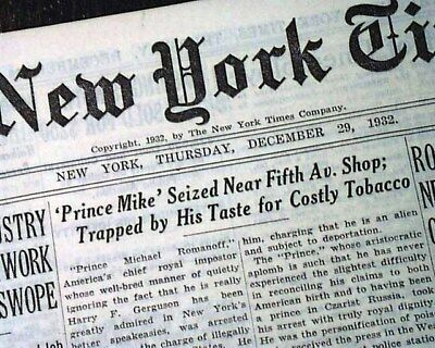 PRINCE MICHAEL ROMANOFF Hollywood Restaurant & Conman ARRESTED 1932 Newspaper