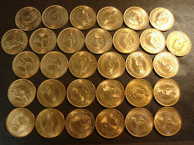 Roll of 31 1969 Mauritius 5 Five Cents BU Uncirculated Just About All RED KM#34