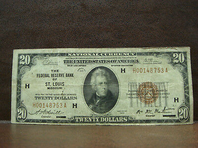 1929 $20 Federal Reserve Bank of St. Louis Missouri Note Brown Seal F
