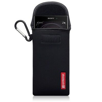 Sony Xperia L2 Shocksock Neoprene Pouch Soft Case with Carabiner in Black