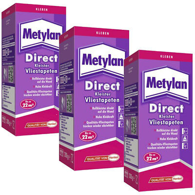 Metylan Direct Vliestapeten Kleister 3 x 200 Gramm Aktionspack