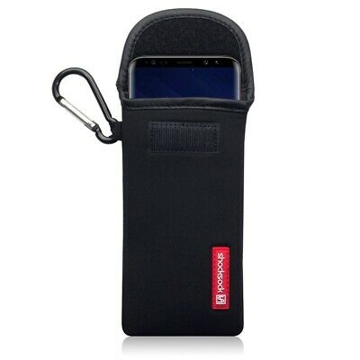 Samsung Galaxy S9 Shocksock Neoprene Soft Pouch Case with Carabiner in Black